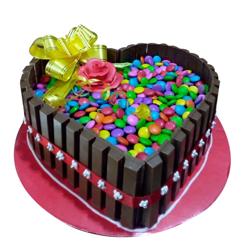 Heart Choco Gems with Kitkat, online cake order in gurgaon